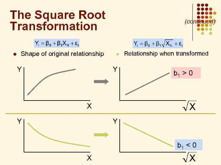 The Square Root Transformation l Shape of original relationship Y (continued) n Y Relationship
