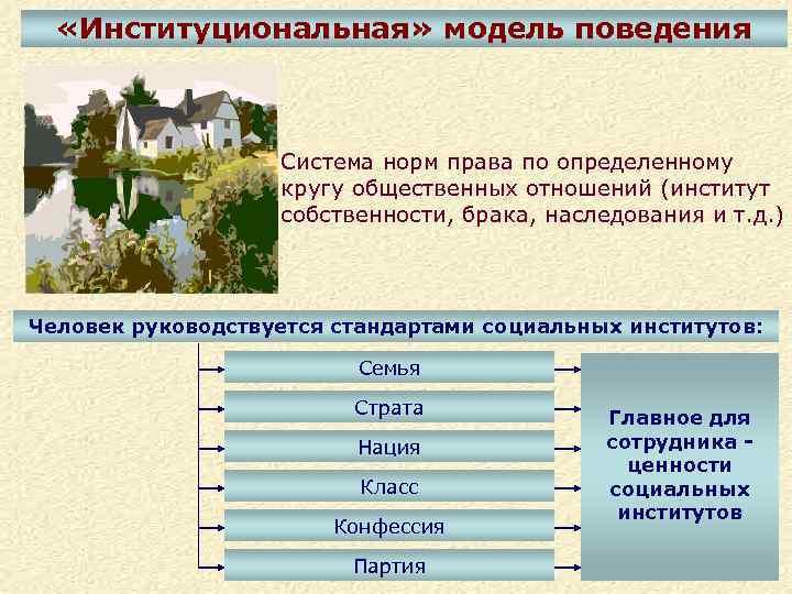 «Институциональная» модель поведения Система норм права по определенному кругу общественных отношений (институт собственности,