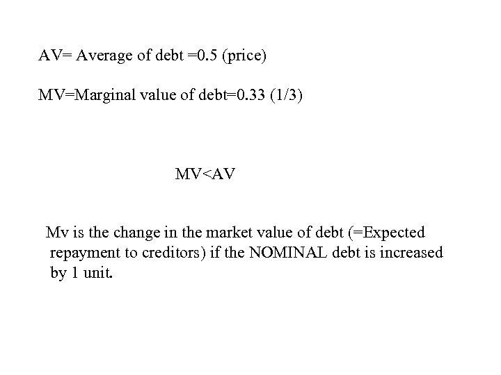 AV= Average of debt =0. 5 (price) MV=Marginal value of debt=0. 33 (1/3) MV<AV