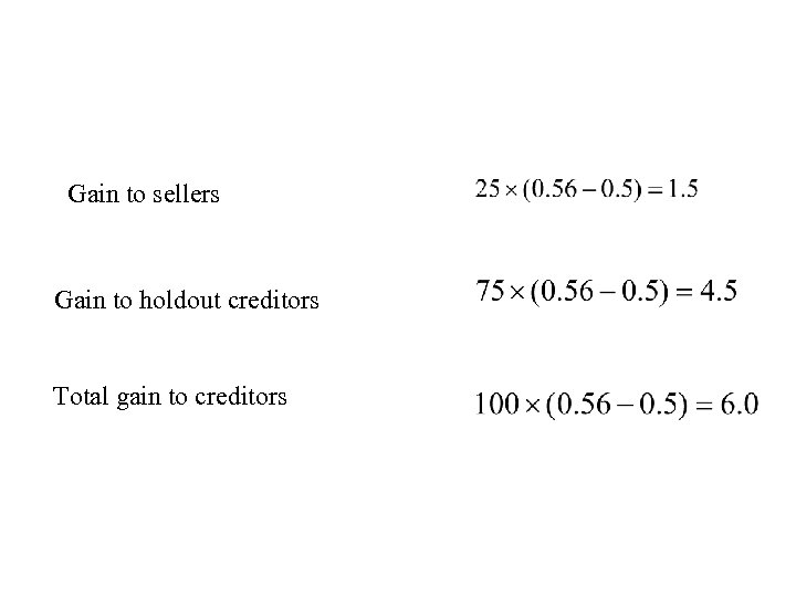 Gain to sellers Gain to holdout creditors Total gain to creditors