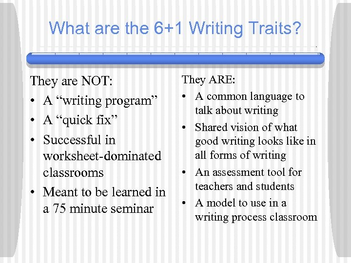 """What are the 6+1 Writing Traits? They are NOT: • A """"writing program"""" •"""