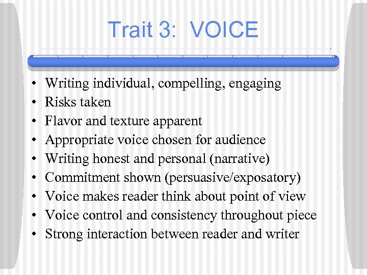 Trait 3: VOICE • • • Writing individual, compelling, engaging Risks taken Flavor and