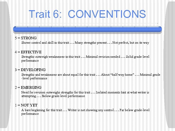 Trait 6: CONVENTIONS 5 = STRONG Shows control and skill in this trait. .
