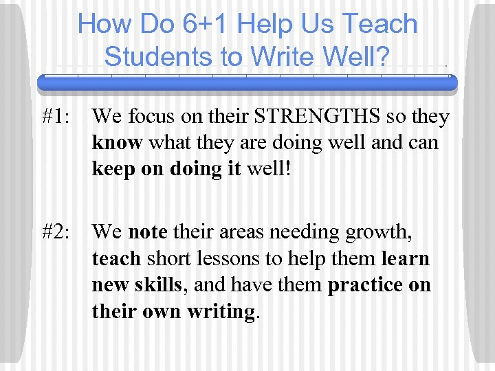 How Do 6+1 Help Us Teach Students to Write Well? #1: We focus on