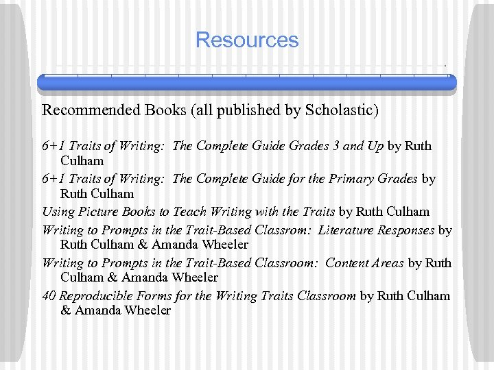 Resources Recommended Books (all published by Scholastic) 6+1 Traits of Writing: The Complete Guide