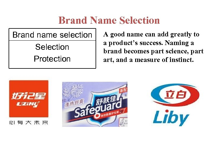 Brand Name Selection Brand name selection Selection Protection A good name can add greatly