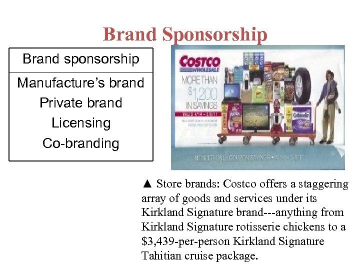 Brand Sponsorship Brand sponsorship Manufacture's brand Private brand Licensing Co-branding ▲ Store brands: Costco