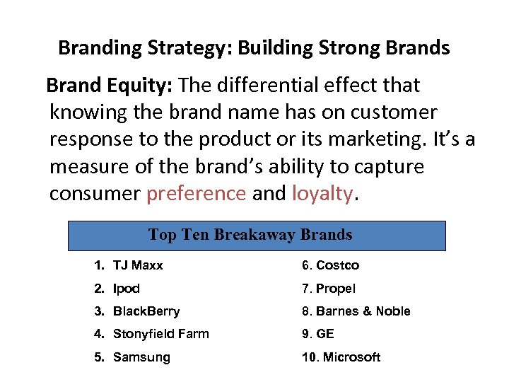 Branding Strategy: Building Strong Brands Brand Equity: The differential effect that knowing the brand