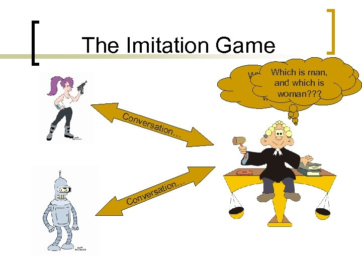 The Imitation Game Which is man, Which is machine, andand which is woman? ?