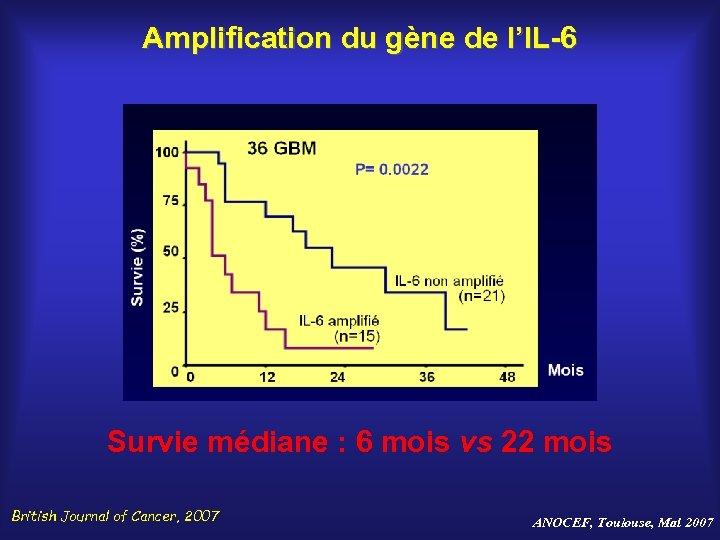 Amplification du gène de l'IL-6 Survie médiane : 6 mois vs 22 mois British