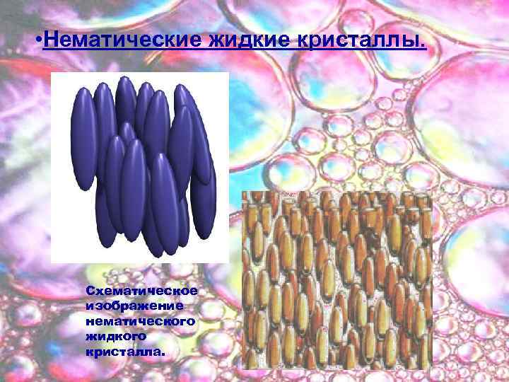 • Нематические жидкие кристаллы. Схематическое изображение нематического жидкого кристалла.