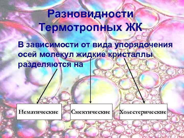 Разновидности Термотропных ЖК В зависимости от вида упорядочения осей молекул жидкие кристаллы разделяются на