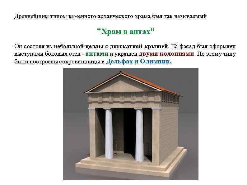 Древнейшим типом каменного архаического храма был так называемый