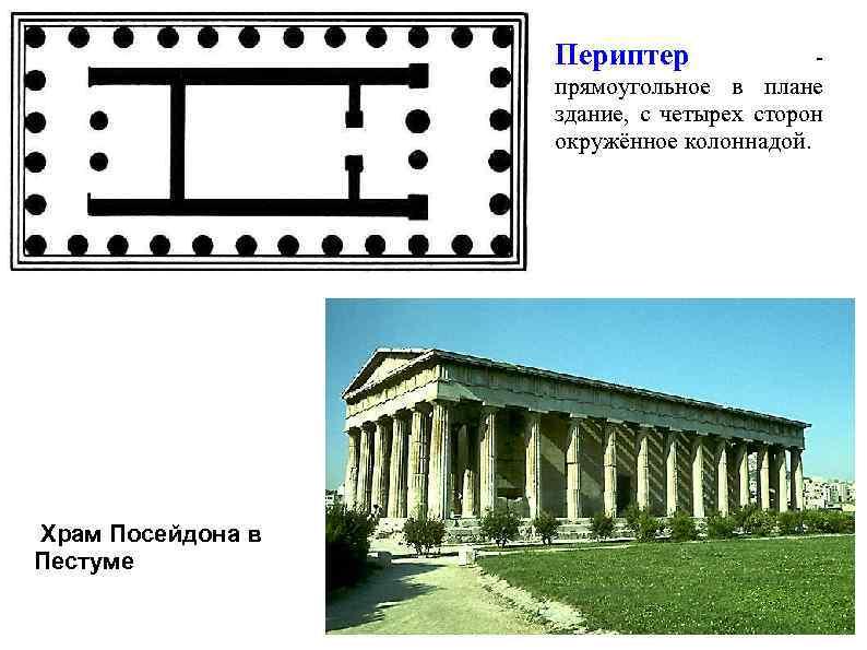 Периптер - прямоугольное в плане здание, с четырех сторон окружённое колоннадой. Храм Посейдона в
