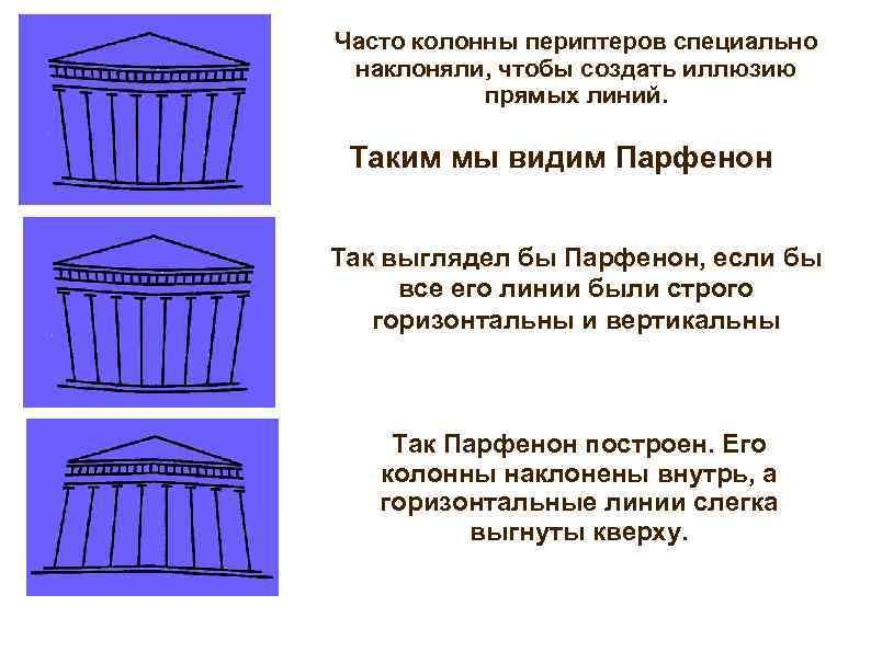 Часто колонны периптеров специально наклоняли, чтобы создать иллюзию прямых линий. Таким мы видим Парфенон
