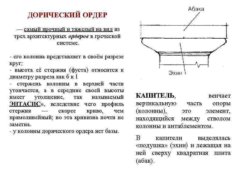 ДОРИЧЕСКИЙ ОРДЕР — самый прочный и тяжелый на вид из трех архитектурных ордеров в