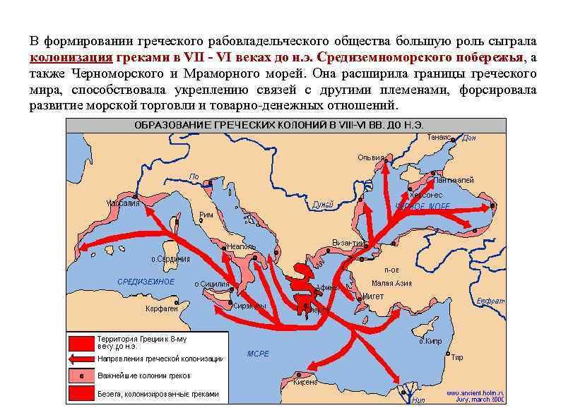 В формировании греческого рабовладельческого общества большую роль сыграла колонизация греками в VII - VI