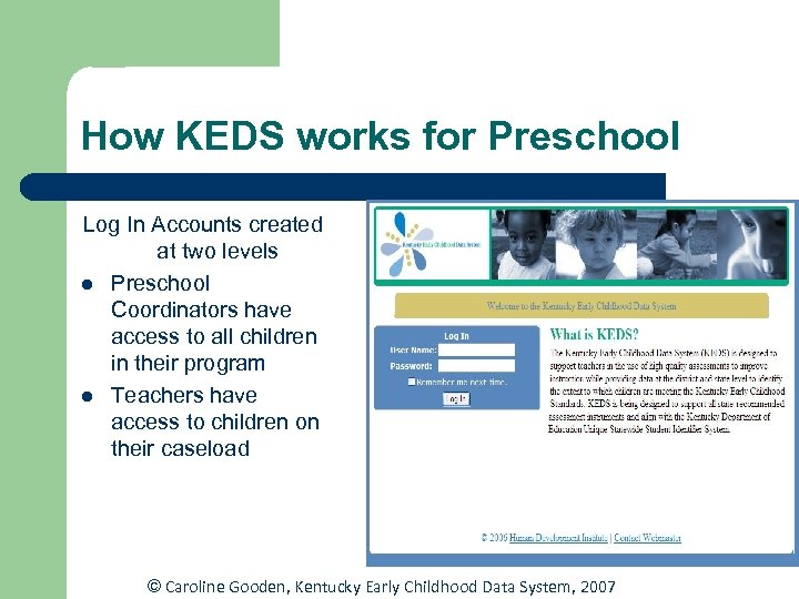 How KEDS works for Preschool Log In Accounts created at two levels l Preschool