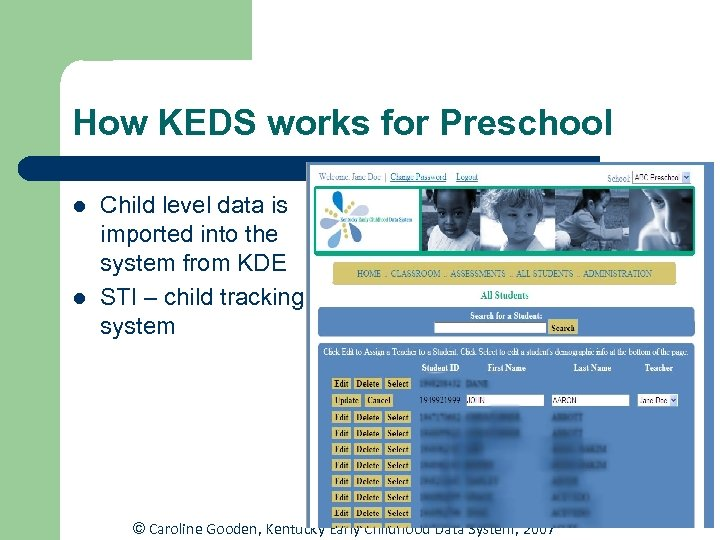How KEDS works for Preschool l l Child level data is imported into the