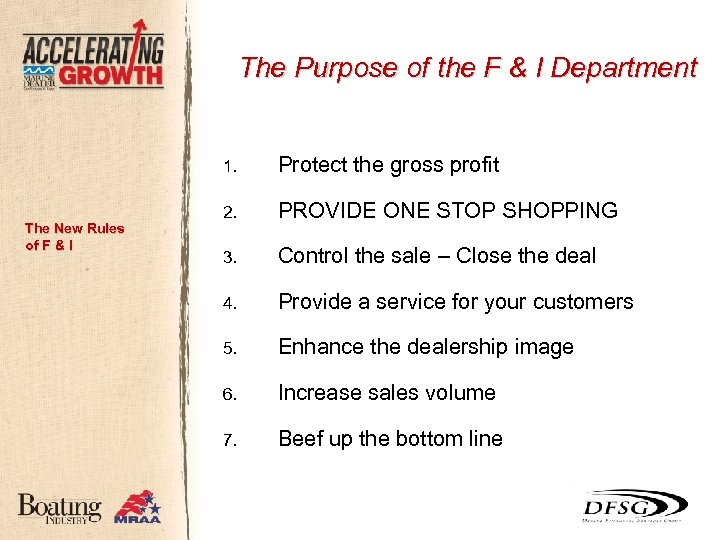 The Purpose of the F & I Department 1. The New Rules of