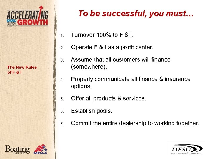 To be successful, you must… 1. Turnover 100% to F & I. 2. Operate