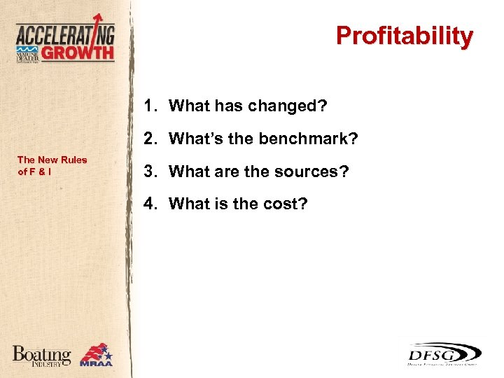 Profitability 1. What has changed? 2. What's the benchmark? The New Rules of F