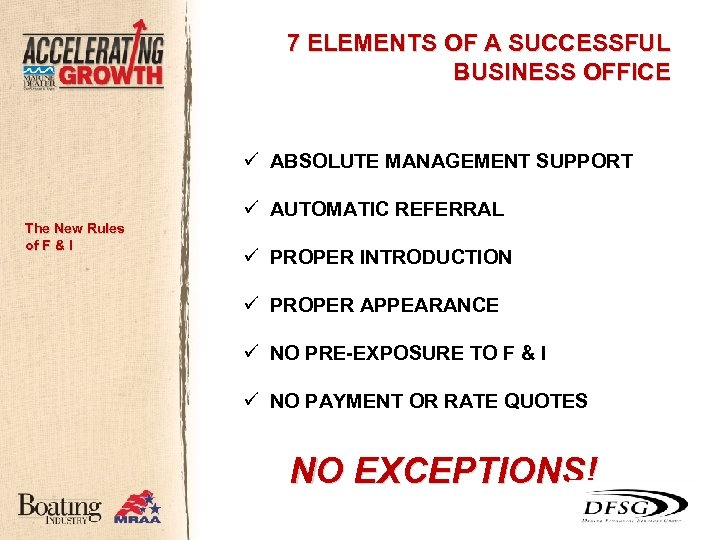 7 ELEMENTS OF A SUCCESSFUL BUSINESS OFFICE ü ABSOLUTE MANAGEMENT SUPPORT The New Rules