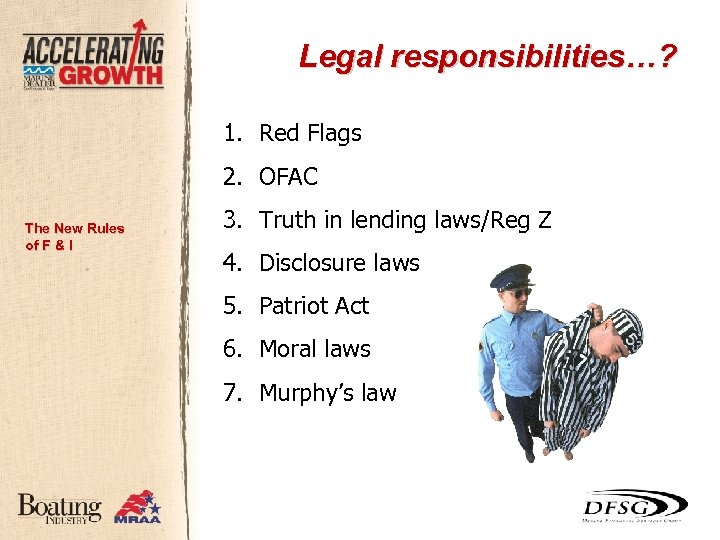 Legal responsibilities…? 1. Red Flags 2. OFAC The New Rules of F & I