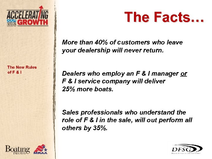 The Facts… More than 40% of customers who leave your dealership will never return.