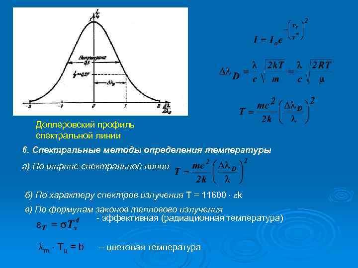 Доплеровский профиль спектральной линии 6. Спектральные методы определения температуры а) По ширине спектральной линии