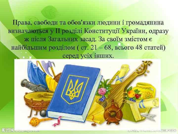 Права, свободи та обов'язки людини і громадянина визначаються у ІІ розділі Конституції України, одразу