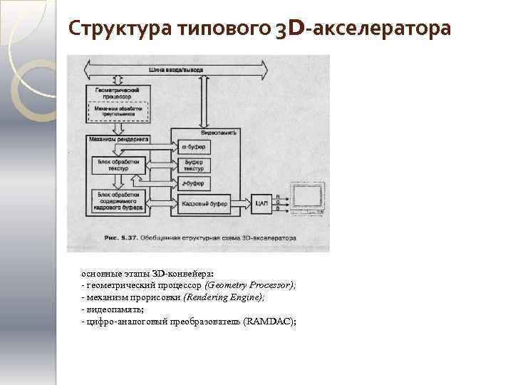 Структура типового 3 D-акселератора основные этапы ЗD-конвейера: - геометрический процессор (Geometry Processor); - механизм