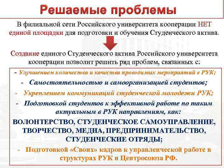 Решаемые проблемы В филиальной сети Российского университета кооперации НЕТ единой площадки для подготовки и