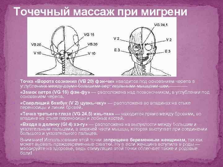 Точечный массаж при мигрени Точка «Ворота сознания (VB 20) фэн-чи» находится под основанием черепа