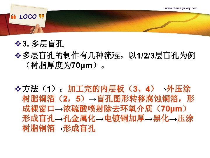 www. themegallery. com LOGO v 3. 多层盲孔 v 多层盲孔的制作有几种流程,以 1/2/3层盲孔为例 (树脂厚度为 70μm)。 v 方法(1):加