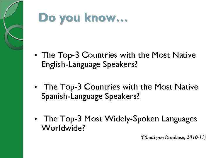 Do you know… • The Top-3 Countries with the Most Native English-Language Speakers? •