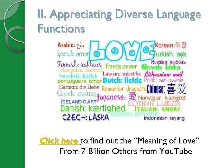 """II. Appreciating Diverse Language Functions Click here to find out the """"Meaning of Love"""""""