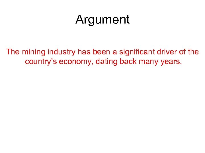 Argument The mining industry has been a significant driver of the country's economy, dating