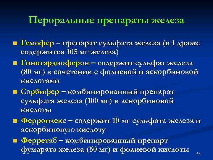 Пероральные препараты железа n n n Гемофер – препарат сульфата железа (в 1 драже