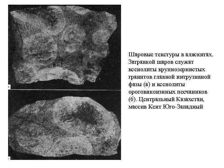 Шаровые текстуры в аляскитах. Затравкой шаров служат ксенолиты крупнозернистых гранитов главной интрузивной фазы (а)