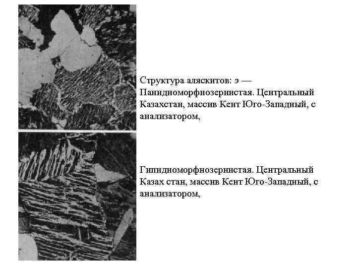 Структура аляскитов: э — Панидиоморфнозернистая. Центральный Казахстан, массив Кент Юго Западный, с анализатором, Гипидиоморфнозернистая.