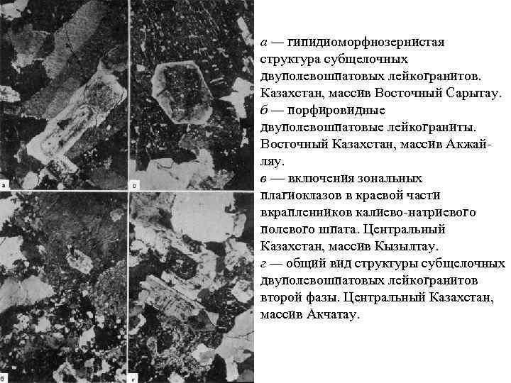 а — гипидиоморфнозернистая структура субщелочных двуполевошпатовых лейкогранитов. Казахстан, массив Восточный Сарытау. б — порфировидные