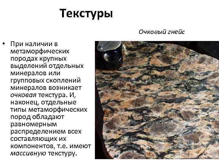 Текстуры Очковый гнейс • При наличии в метаморфических породах крупных выделений отдельных минералов или