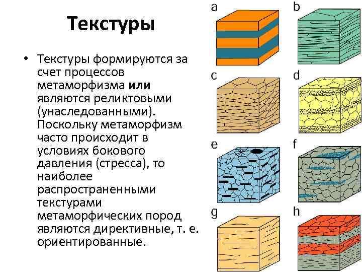 Текстуры • Текстуры формируются за счет процессов метаморфизма или являются реликтовыми (унаследованными). Поскольку метаморфизм