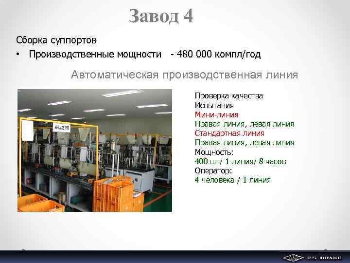 Завод 4 Сборка суппортов • Производственные мощности - 480 000 компл/год Автоматическая производственная линия