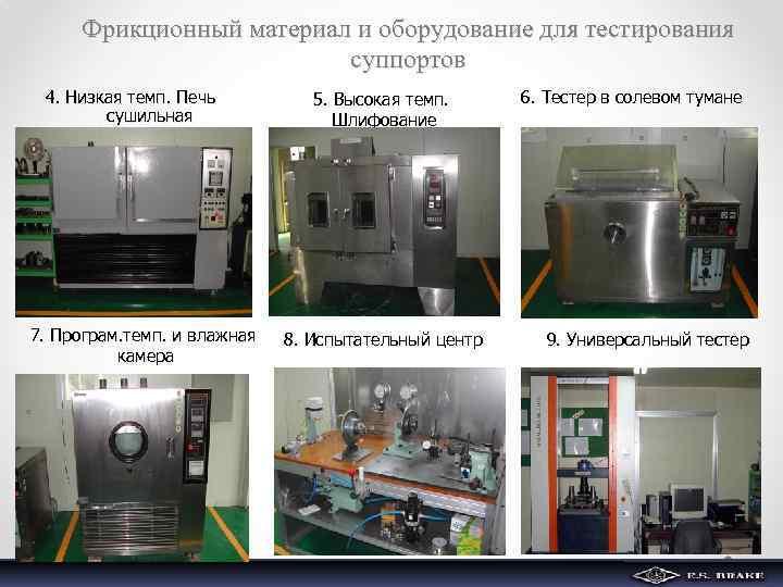 Фрикционный материал и оборудование для тестирования суппортов 4. Низкая темп. Печь сушильная 7. Програм.