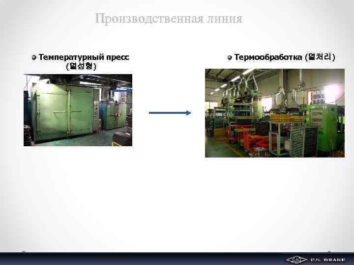 Производственная линия Температурный пресс (열성형) Термообработка (열처리)