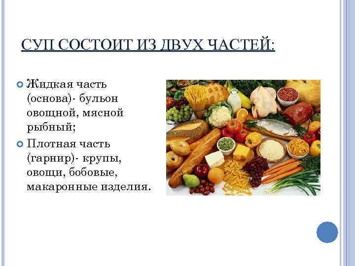 СУП СОСТОИТ ИЗ ДВУХ ЧАСТЕЙ: Жидкая часть (основа)- бульон овощной, мясной рыбный; Плотная часть