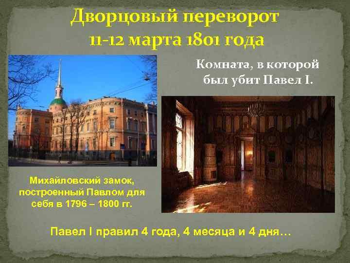Дворцовый переворот 11 -12 марта 1801 года Комната, в которой был убит Павел I.