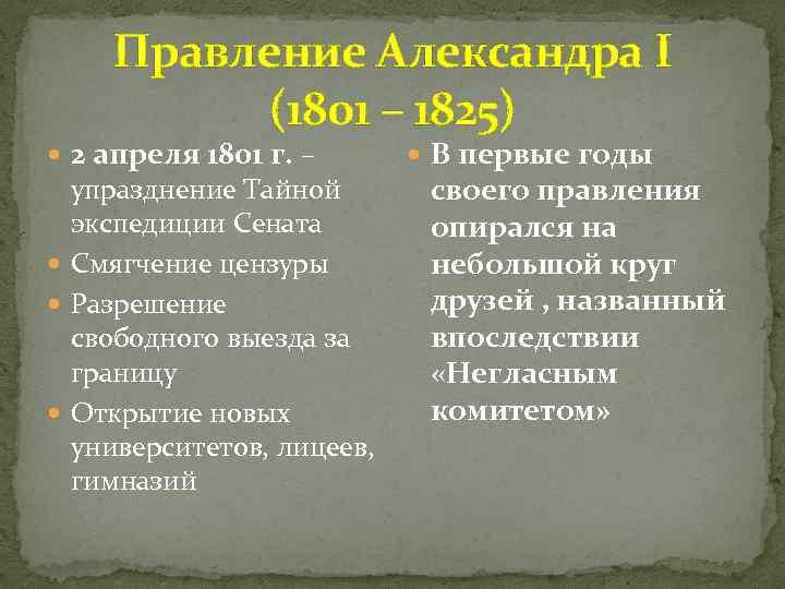 Правление Александра I (1801 – 1825) 2 апреля 1801 г. – упразднение Тайной экспедиции